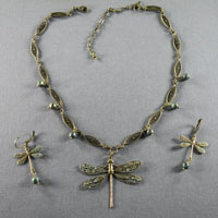 Antique Brass Green Dragonfly $44