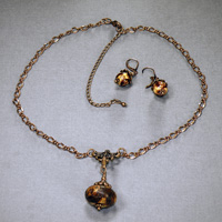 "30"" Antique Copper Chain Clay Clip-on Pendant and Matching Earrings $34"
