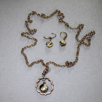 "30"" Antique Copper chain w/Red Creek Jasper Pendant/Earrings $34"