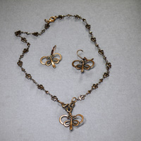 "Antique Copper 16-21"" Chain with Butterfly Pendant/Earrings $34"