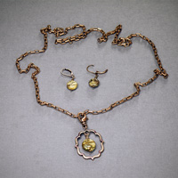 "Antique Copper 30"" chain w/clip on Red Creek Jasper Pendant and Earrings $34"