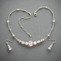 "Sterling Silver Rose Quartz, Length 15-1/2""-19 1/2"" $34"