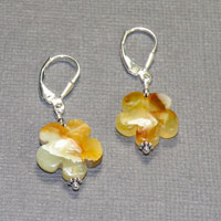 Sterling Silver Flower Jade Earrings $30