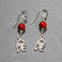 "Sterling Silver Red Coral ""Love"" Earrings $30"