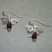 Sterling Silver Garnet Dragonly Earrings $24