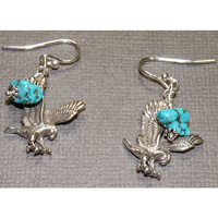 Sterling Silver Eagle with Turquoise Earrings $30