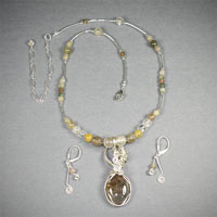 "Sterling Silver Wire Wrap Rutilated Quartz 16""-20"" $48"