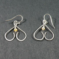 Sterling Silver Fresh Water Pearl Inverted Heart Earrings $30.00