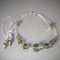 "Sterling Silver Faceted Smoky Quartz Length 16""-20"" $40"