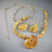 14k Gold Filled Fossilized Nautilus Shell w/ Roman Glass Beads $48