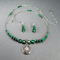 "Sterling Silver Malachite Filigree Center 16-20"" $44"