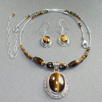 "Sterling Silver 16-20"" Yellow Tigerseye Oval Center $64"