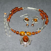 "Sterling Silver 17-21"" Baltic Amber Necklace/Earring Set $74"