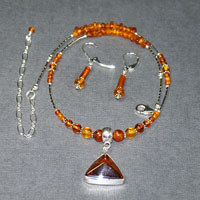 "Sterling Silver 15.5-19.5"" Baltic Amber Necklace/Earring Set $54"