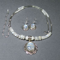 "Sterling Silver 19-23"" Oval Rainbow Moonstone Necklace/Earring Set $84"