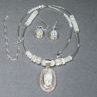 "Sterling Silver 19-23"" Long Oval Rainbow Moonstone Necklace/Earring Set $78"