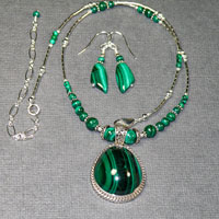 "Sterling Silver 16-20"" Malachite Necklace Earrings Set $64"