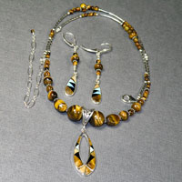 "Sterling Silver 18-22"" Yellow Tigerseye Necklace/Earrings Set $48"