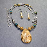 "Sterling Silver 16-20"" Teardrop Picture Jasper w/Blue Necklace/Earrings Set $40"