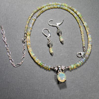 "Sterling Silver 18-22"" Ethiopian Opal Faceted Center Necklace/Earrings Set $148"