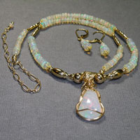 "14K Gold Filled 16-20"" Wire Wrap Ethiopian Opal Necklace/Earrings Set $184"