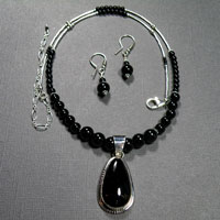 "Sterling Silver 19-23"" Black Onyx Necklace/Earrings Set $54"