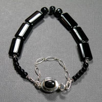 "Sterling Silver 7-7.75"" Black Onyx with Safety Chain Bracelet $40"